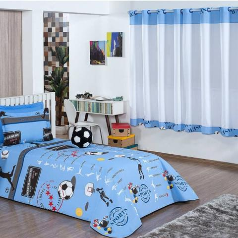 Imagem de Cobre Leito Solteiro Zilu Kids 04 Peças c/ Cortina para Varão - Futebol Azul