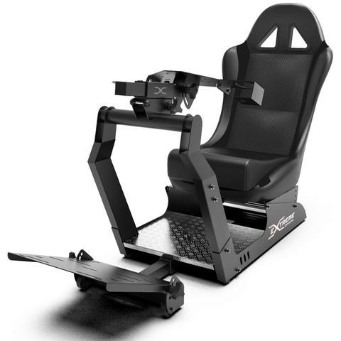 Imagem de Cockpit Suporte p/ Volantes Simuladores de Corrida VE2 Banco Preto. Compatível com Logitech Thrustmaster Fanatec