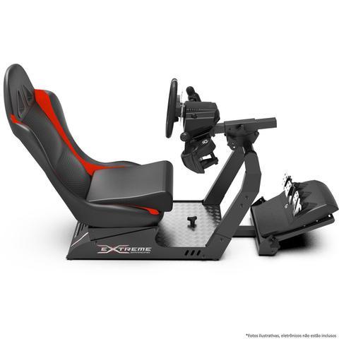 Imagem de Cockpit Suporte p/ Volantes Simuladores de Corrida VE2 Banco Vermelho. Compatível com Logitech Thrustmaster Fanatec