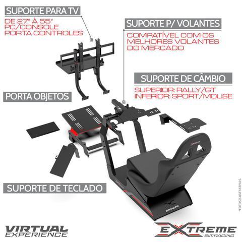 Imagem de Cockpit Suporte p/ Volantes Simuladores de Corrida VE3 Estação Completa Banco Preto