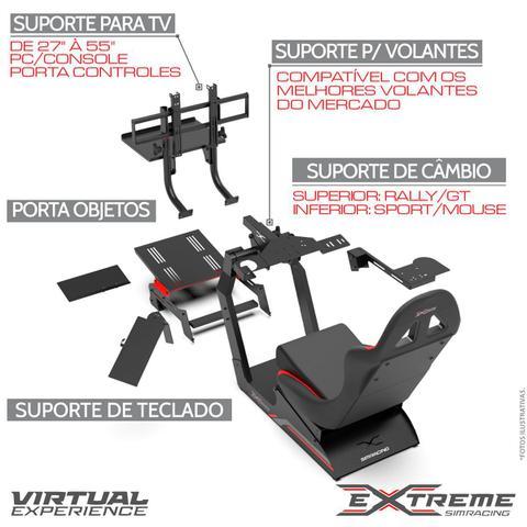 Imagem de Cockpit Suporte p/ Volantes Simuladores de Corrida VE3 Estação Completa Banco Vermelho.