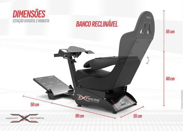Imagem de Cockpit Suporte para Volantes Simuladores de Corrida X Retrátil Banco Preto, compatível com Logitech, Fanatec e Thrustmaster
