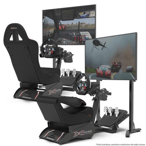 Imagem de Cockpit Suporte para Volantes Simuladores de Corrida X Retrátil Banco Vermelho, compatível com Logitech, Fanatec e Thrustmaster