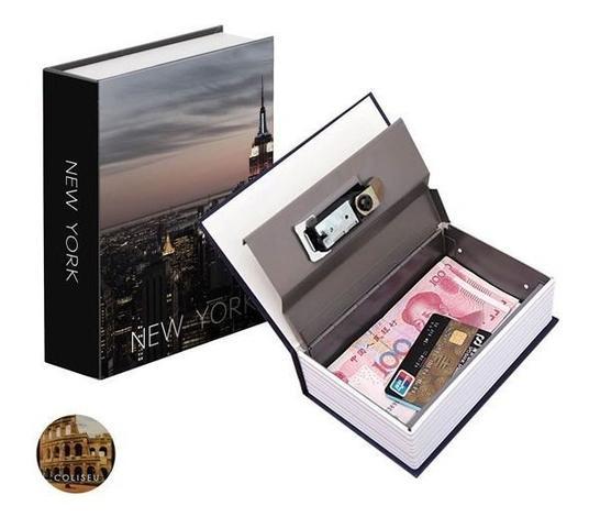Imagem de Cofre Camuflado Com Chave Formato Livro Porta Joias Dinheiro