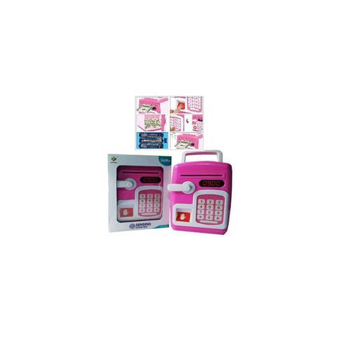 Imagem de Cofre digital com senha e biometria eletronico automatico infantil impressao digital cofrinho teclado moedas nota rosa