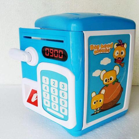 Imagem de Cofre Digital Eletronico Automatico Senha E Impressao Digital Infantil Biometria Teclado Moedas Azul