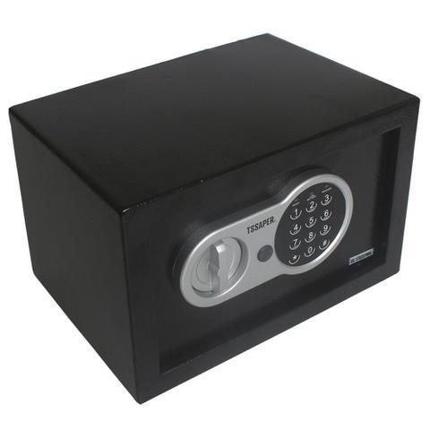 Imagem de Cofre eletrônico digital em aço teclado com senha + 2 chaves (20x31x20cm)  E20st