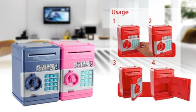 Imagem de Cofre eletronico digital mini caixa com segredo de 4 digitos com insercao automatica de notas
