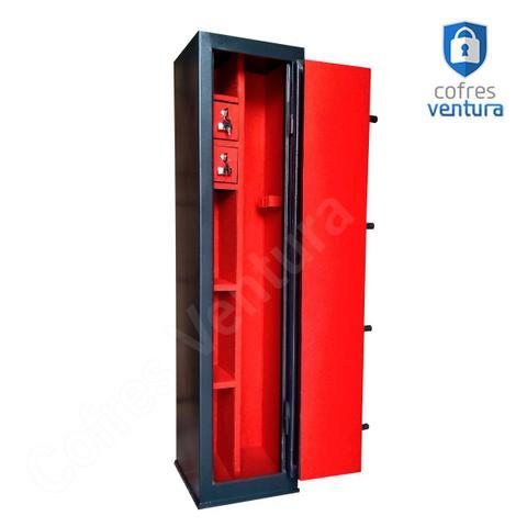 Imagem de Cofre para 08 Armas (02 longas e 06 curtas) PRETO Ventura 130x30x30
