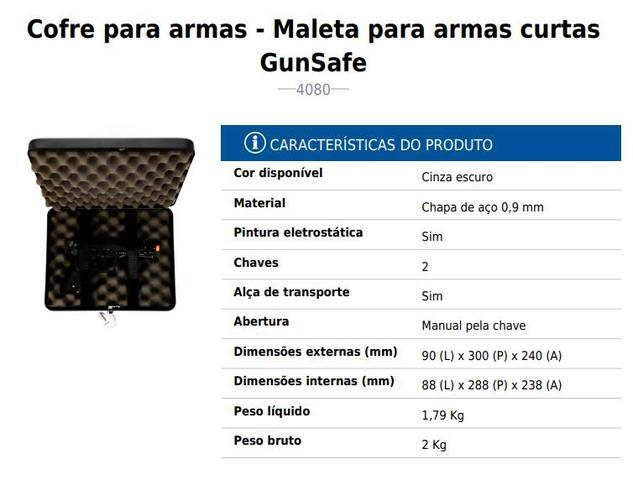 Imagem de Cofre para armas  Maleta para armas curtas GunSafe Menno