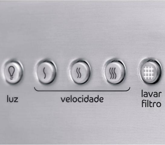 Imagem de Coifa de Parede Consul 90 cm Inox 5 e 6 bocas com design em vidro e aviso lavar filtro