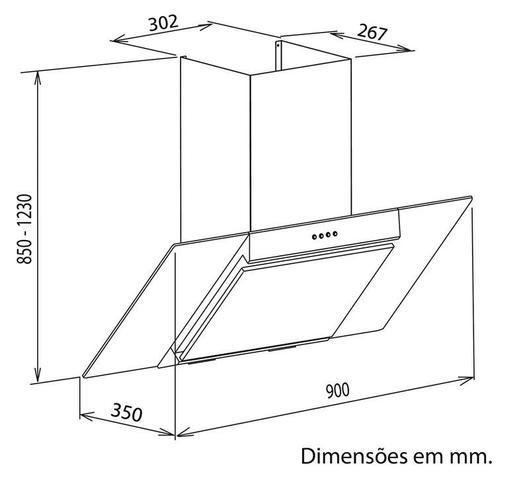 Imagem de Coifa de parede de 90 cm em aço inox + vidro preto 127 V - Tramontina