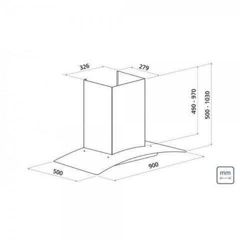 Imagem de Coifa de parede em aço Inox + Vidro New Vetro 90 cm Voltagem : 127 Volts