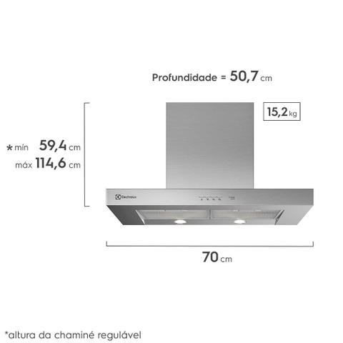 Imagem de Coifa de Parede Silver 70cm Electrolux (70CS)