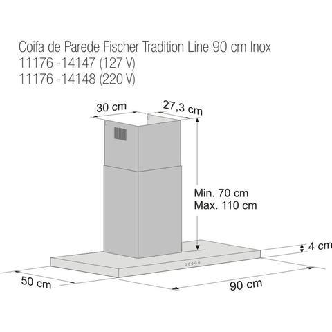 Imagem de Coifa de Parede Tradition Line 90cm Fischer 127V Cinza
