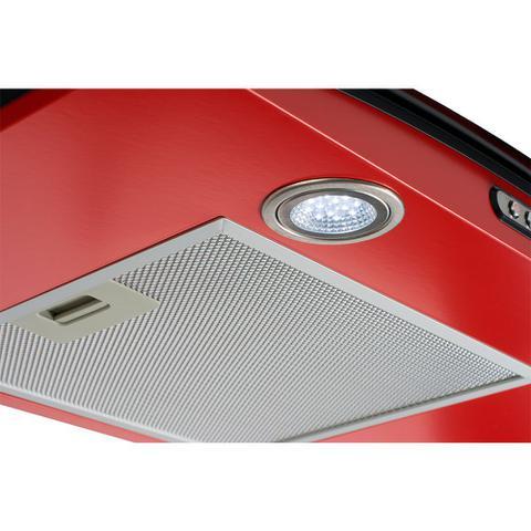 Imagem de Coifa de Parede Vidro Curvo 90cm Duto Slim Terim Vermelho com Inox