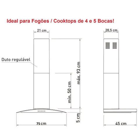 Imagem de Coifa de Parede Vidro Curvo Terim 5 Bocas 75cm Black com Inox