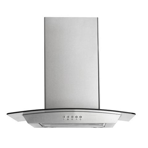 Imagem de Coifa de vidro curvo 60cm, luz led e 3 niveis p/ fogão de 4 bocas 127v-234w multilaser inox - ce067