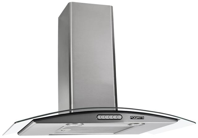 Imagem de Coifa Depurador de Parede Vidro Curvo Inox Cozinha Para Fogão de 4 e 5 Bocas 70cm - Fogatti