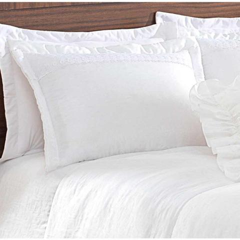 f52d433232 Imagem de Colcha Casal King Principessa 05 Peças Bordado Tecido Tafeta -  Branco