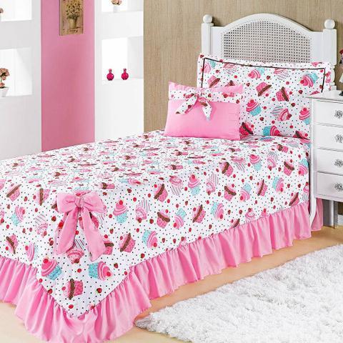 Imagem de Colcha Solteiro Infantil Para Meninas Laila Cupcake Pink