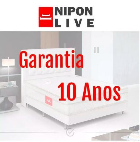 Imagem de Colchão Casal Magnético Massageador Azul 30cm Nipon Live