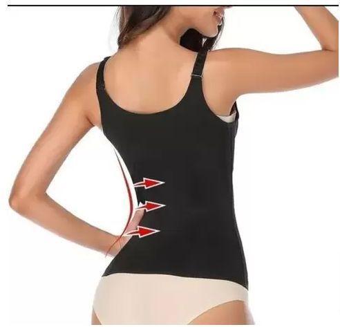 Imagem de Colete Cinta Modeladora Abdominal Redutora Cintura Medidas Zíper Colchete Compressão