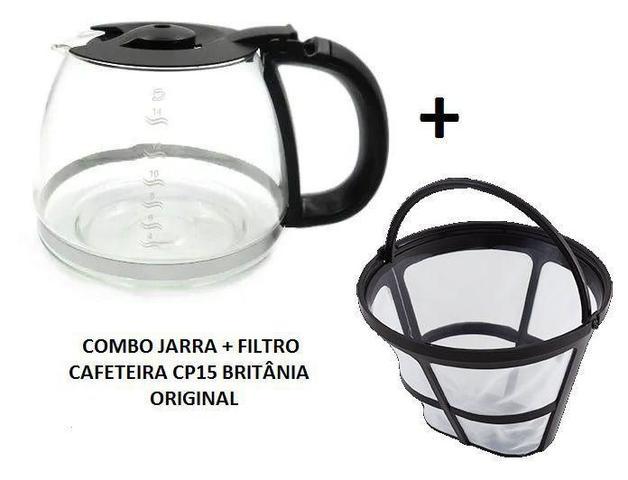 Imagem de Combo 1 jarra e 1 filtro permanente para cafeteira cp15 cp 15 originais britânia