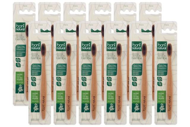 Imagem de Combo 12 Escovas Dental Boni Natural  - Biodegradável - Cabo de Bambo e Cerdas de Carvão