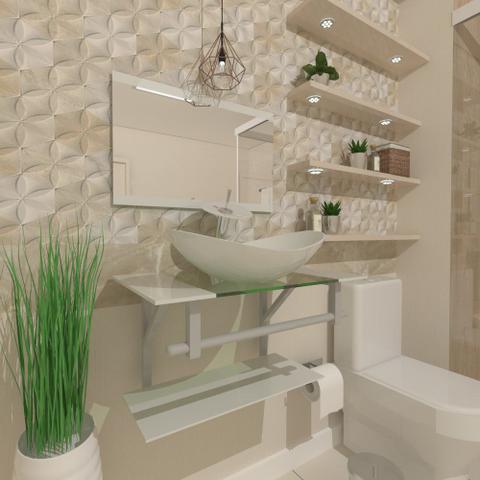 Imagem de Combo 2 em 1 gabinete de vidro 60cm ac com cuba oval + torneira ibiza - branco