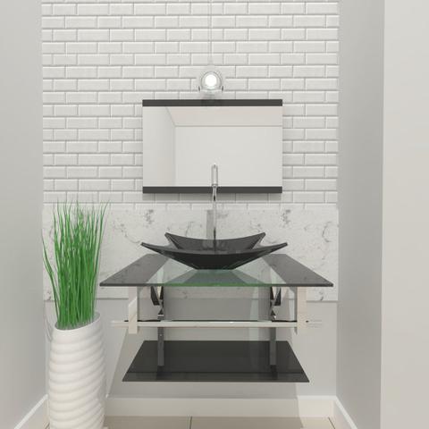 Imagem de Combo 2 em 1  Gabinete de Vidro 60cm para banheiro Cuba Quadrada Ucrânia + Torneira Algarve