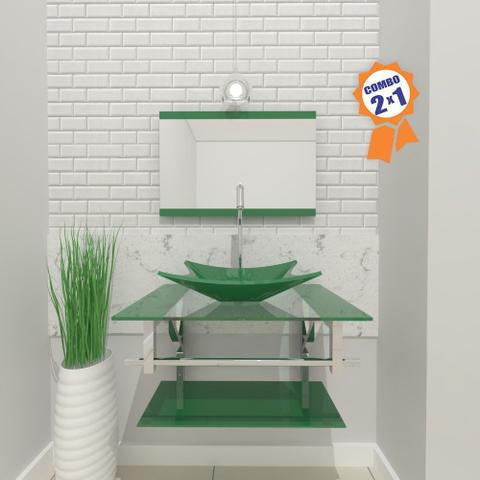 Imagem de Combo 2 em 1  Gabinete de Vidro 60cm para banheiro Cuba Retangular San Marino + Torneira Algarve