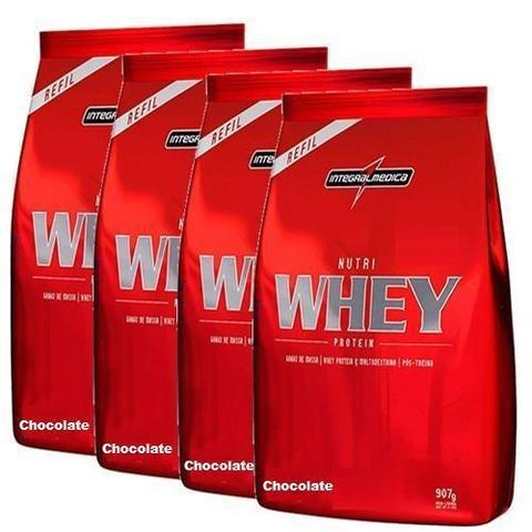 Imagem de Combo 4 - Nutri Whey Protein - Refil Chocolate 907g - Integralmédica