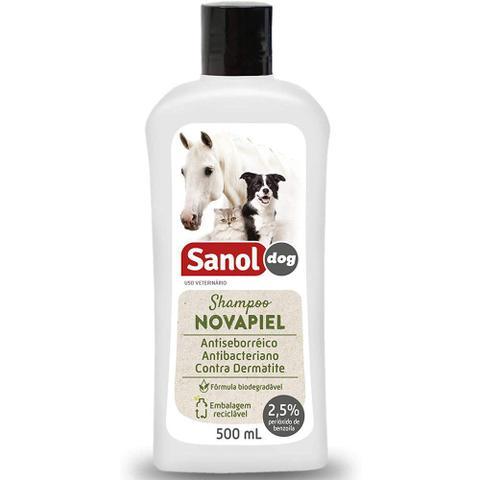 Imagem de Combo 4 unidades Shampoo de Alergias cachorro dermatite cães e gatos: Peróxido de Benzoila Novapiel
