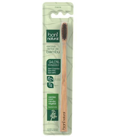 Imagem de Combo 6 Escovas Dental Boni Natural  - Biodegradável - Cabo de Bambo e Cerdas de Carvão