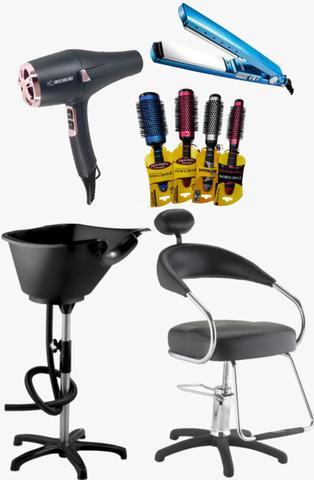Imagem de Combo lavatorio facile + cadeira hidraulica futura + secador vortex rosé 220v + prancha azul titanio + 4 escovas vazadas