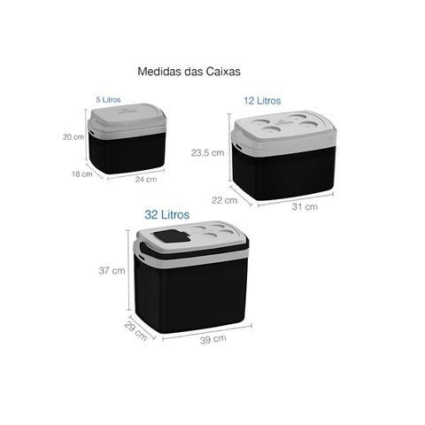 Imagem de Combo Três Caixas Térmicas - 32, 12 e 5 Litros - Preta Soprano