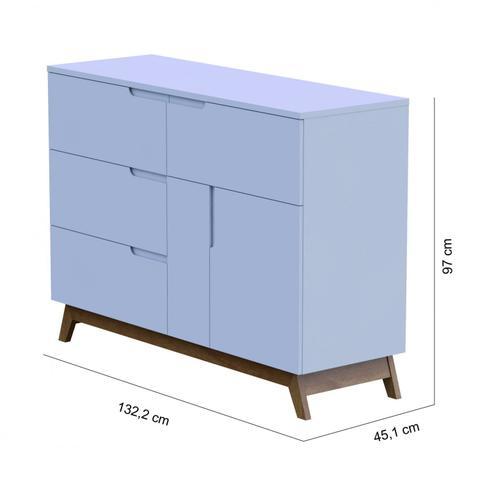 Imagem de Cômoda 4 Gavetas 1 Porta Sonhar Divicar Móveis Branco Acetinado