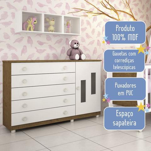 Imagem de Cômoda de Bebê 1 Porta 5 Gavetas Evolution Tcil Móveis Imbuia Rustic/Neve