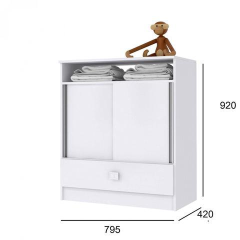 Imagem de Cômoda de Bebê 2 Portas de Correr 1 Gaveta Móveis Percasa Branco