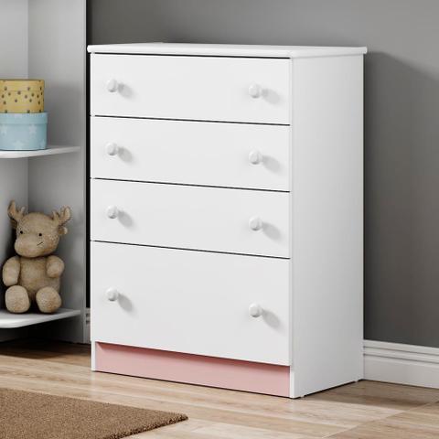 Imagem de Comoda de Bebe 4 Gavetas Confete Plus Flex Branco/Colorido