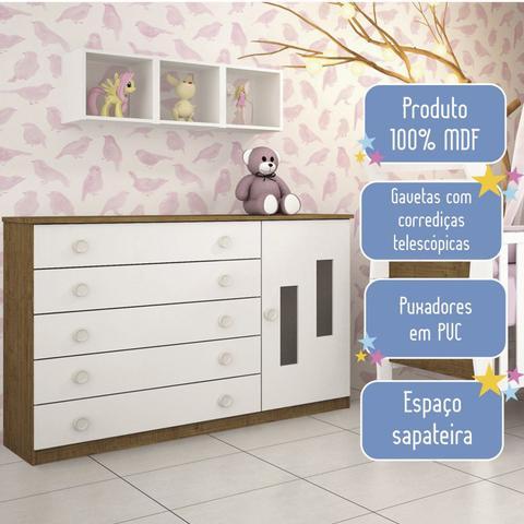 Imagem de Cômoda de Bebê 5 Gavetas 1 Porta Evolution Tcil Móveis Imbuia Rustic/Neve