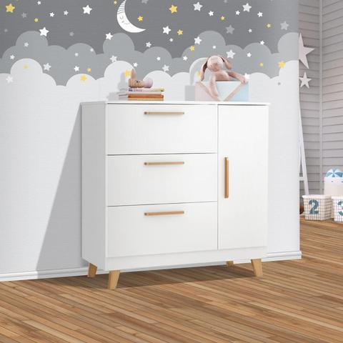 Imagem de Cômoda de bebe com sapateira e 3 gavetas branco Theo imaza Baby