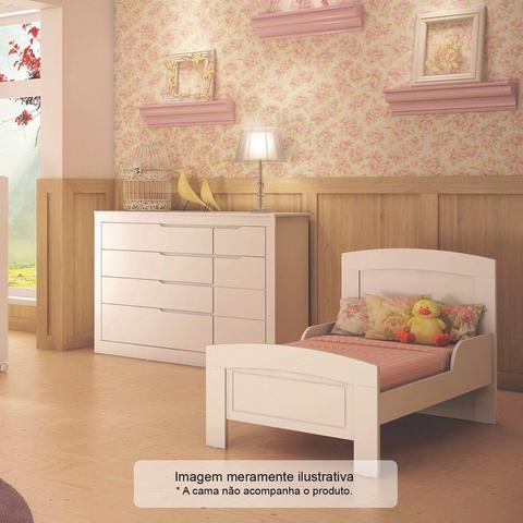 Imagem de Cômoda de Bebê Fraldário 1 Porta 5 Gavetas Cléo Carolina Baby Branco Fosco