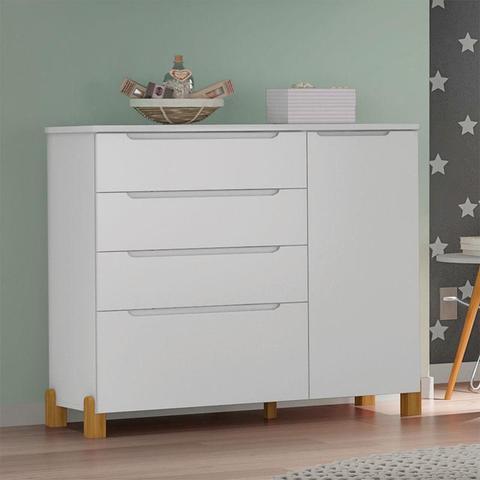 Imagem de Cômoda e Guarda Roupa Melody Decor Branco Acetinado - Móveis Estrela