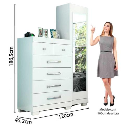 Imagem de Cômoda Espelho 6 Gavetas Com Sapateira Carol ACP Móveis Branco