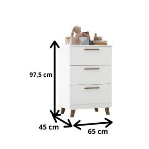 Imagem de Comoda Infantil Baby Théo 3 gavetas Branco