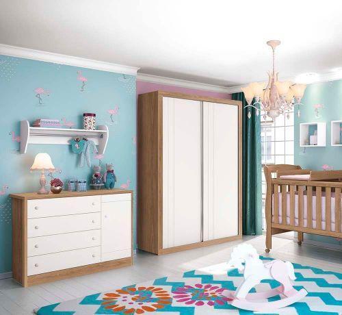 Imagem de Cômoda Infantil com Porta Bonny Branco Fosco/Mezzo - Reller