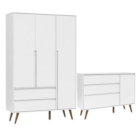 Imagem de Comoda infantil Com Porta e Guarda Roupa 3 Portas Retro Clean Branco Acetinado Eco Wood - Matic