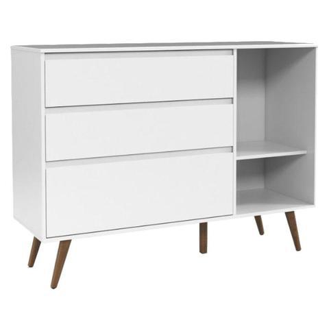 Imagem de Cômoda Infantil Com Porta Retro Clean Branco Acetinado Eco Wood - Matic